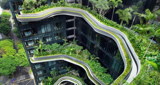 jardins suspendus au parkroyal hotel de singapour kollectif. Black Bedroom Furniture Sets. Home Design Ideas